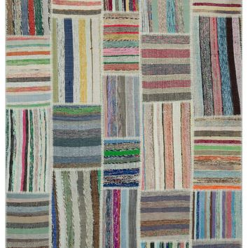 STRIPED OVER DYED KILIM PATCHWORK UNIQUE RUG 6'3'' X 9'1'' FT 190 X 276 CM