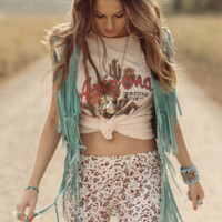 Cowgirl Dreams Tassel Vest - Turquoise | Spell & the Gypsy Collective