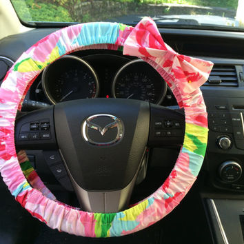 Steering Wheel Cover woth bow made with Lilly Pulitzer fabric