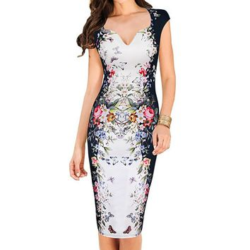Womens Summer Elegant Floral Butterfly Print Charming Pinup Cap Sleeve Casual Party Bodycon Sheath Dress