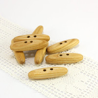 Natural ash wood toggles. Set of 8 wooden toggle buttons size 1.5 in (38mm) - S0440