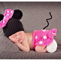 Newborn Infant Baby Photography Prop Cute Crochet Knitted Costume Gilr Bow Minnie Beanie hat caps Dress set (Size: 0-6m, Color: Pink)