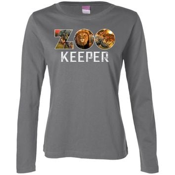 Zookeeper African Savanna Animal Print 3588 LAT Ladies' LS Cotton T-Shirt