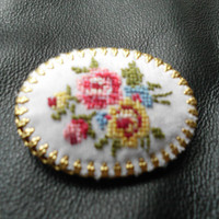 Petit Point Jewelry Cameo Brooch Needlepoint Embroidered Jewelry Tapestry Jewelry ROSE Brooch Handmade Brooch Infinity Scarf Pin