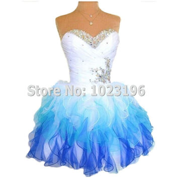 2015 Real Photos Sweetheart Cute Pretty Ruffles Tulle Mini Short Prom Dresses Junior Birthday Party Dress Homecoming Dresses