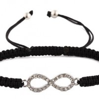 2 Pieces of Silvertone with Clear Iced Out Infinity Bracelet