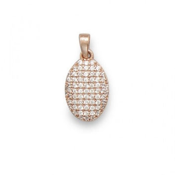 14 Karat Rose Gold Plated Oval Pendant with CZs