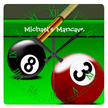 Snooker Mancave Wall Clock