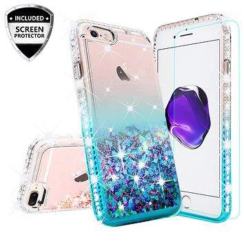 Apple iPhone 7 Plus Case Liquid Glitter Phone Case Waterfall Floating Quicksand Bling Sparkle Cute Protective Girls Women Cover for iPhone 7 Plus - Teal