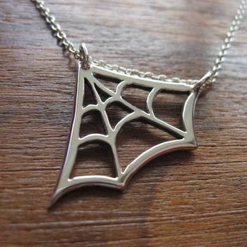 Silver Cobweb Pendant Necklace