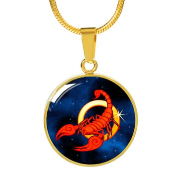 Zodiac Sign Scorpio - 18k Gold Finished Luxury Necklace