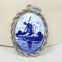 Vintage Pendant Delft Blue and White Windmill Large Oval 48mm x 38mm