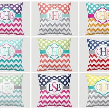 Monogram PILLOW - Throw Pillow - Chevron Polka Dots - Pillow Cover or With Insert - Matching Bedding - Choose Your Colors - Made in USA