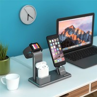 YFW Stand for Apple Watch Aluminum 4 in 1 AirPods Accessories Charging Dock Holder for iWatch Series 2/1/iPhone 7/7Plus/6s Plus