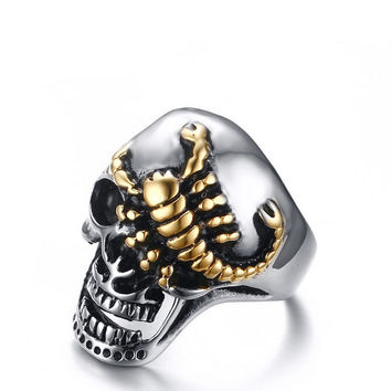 30mm Heavy Gothic Punk rock skeleton Skull gold plated scorpion 316L Stainless Steel Mens Ring US Sz 8 9 10 11 12 men jewelry