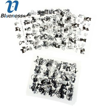 Nail Art Sticker 12Lot Black Persian Cat Design Manicure Decals Beauty Transfer Stickers For Nails 3D Art Tips Free Shipping