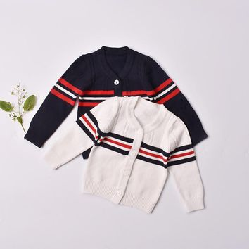 Children sweaters 2017 kids winter cardigans for baby clothes cotton full sleeve boys striped sweater infant size