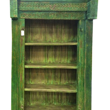 Vintage Indian 4 Shelf Bookcase Antiqie Solid Wood Happiness Carving Cabinet Book Shelf