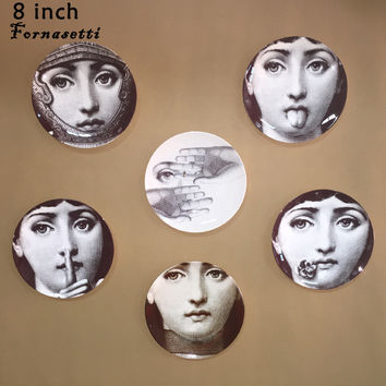 "8 ""piero Italy fornasetti decorative hanging dish ceramic art dish plates pictur"