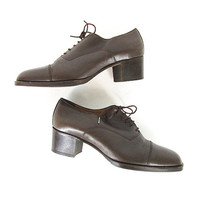 Vintage Italian Oxfords -- Chunky Heel Shoes -- Lace Up Shoes -- Dark Chocolate Brown Leather -- Womens Size 8.5