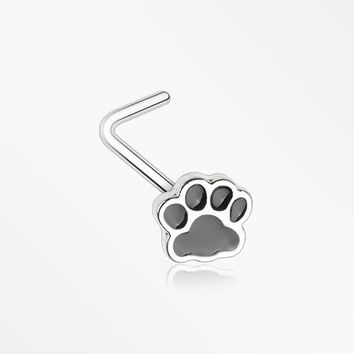 Adorable Paw Print L-Shaped Nose Ring