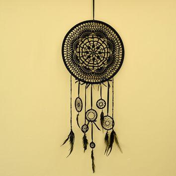 Large Black dreamcatcher, 7 chakras dream catcher,  Crocheted Dreamcatcher, Boho wall decor, Bohemian Lace, Seven Chakras Black Wall hanging