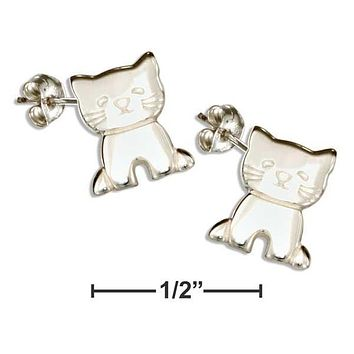 Sterling Silver Earrings:  High Polish Kitten Cat Post Earrings
