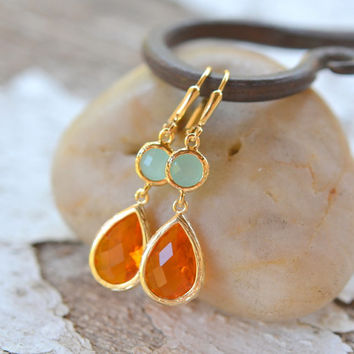 Orange Teardrop and Circle Diamond Dangle Earrings. Fall Fashion Earrings. Orange Aqua Earrings. Free Shipping.