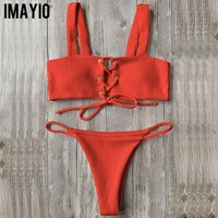 Imayio 2017 bikini Ribbed bikini set women sexy swimsuit Lace up top stylish bathing suit wide straps