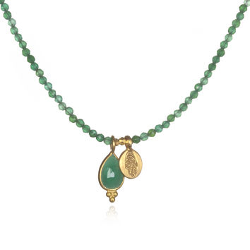Gold Green Onyx and Emerald Hamsa Necklace - Morning Dew