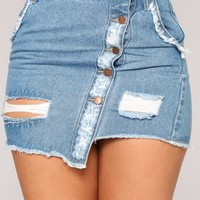 Distress Me Not Denim Skirt - Light Wash