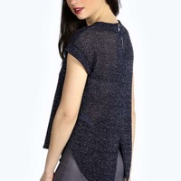Alisha Metallic Roll Back Sleeve Knitted Tee