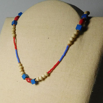 Beaded Choker Necklace Red White Blue Wood and Seed Beads 15 Inch Hippie Jewelry US American Flag Colors Patriotic Jewelry USA Lightweight
