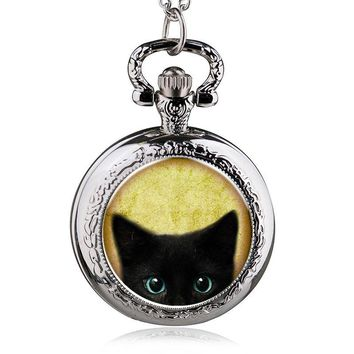 fashion alice in wonderland quartz cat pocket watch necklace woman fob watches black round convex lens glass picture