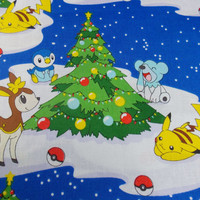 Pokemon Fabric Pokemon Go Pikachu Fabric Pokemon Holiday Fabric Christmas Fabric Christmas Tree Fabric Pokemon