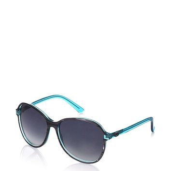 Gucci Women's 3193 Pearl Grey /Turquoise Frame/Grey Gradient Lens Plastic Sunglasses