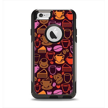 The Vector Orange & Pink Coffee Time Apple iPhone 6 Otterbox Commuter Case Skin Set