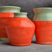 Orange Vase Trio by symmetricalpottery on Etsy