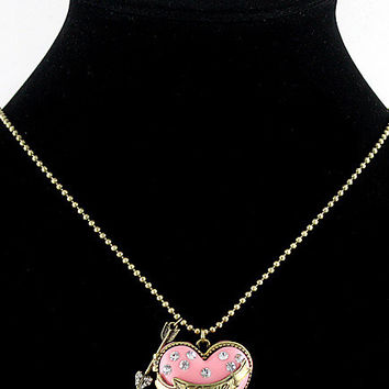 Pink Heart Box Locket Necklace