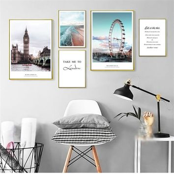 Landon Cityscape Nordic Canvas Painting Home Decor Wall Art Building Ben Ferris Wheel Beach Quote Bedroom Living Room Poster DIY