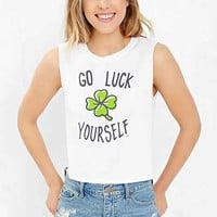 St. Patty's Day Cropped Muscle Tee- White