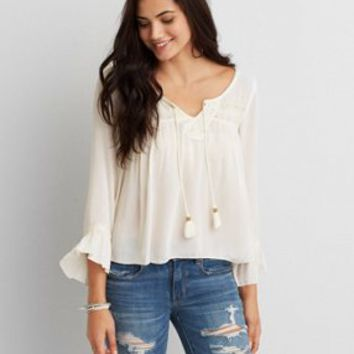 2cb8f2bd10863 AEO LACE PEASANT TOP from American Eagle Outfitters