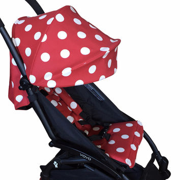 Red Polka Dot Hood, Seat Liner and Strap Cover Set