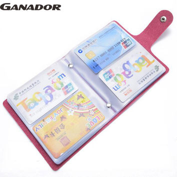 Ganador hot 60 slots women credit card holder pu leather buckle large capacity business ID holders organizer bolsas LS7473
