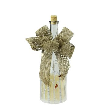 """10"""" LED Flameless Pillar Candle in a Clear Glass Bottle Lantern with Bird Accents"""
