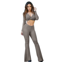 Cross Wrap V- Neck  Crop Top High Waist Bell Bottom Pants