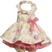 Bonnie Baby Baby-girls Infant Halter Dress With Allover Glitter Print