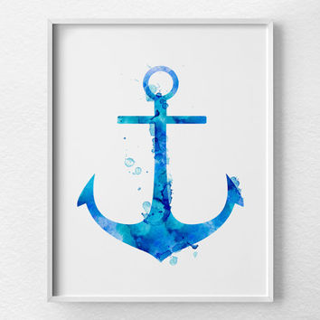 Anchor Decor, Anchor Print, Nautical Decor, Nautical Nursery, Watercolor Anchor Print, Anchor Art, Nautical Print, Nautical Anchor Art, 0382