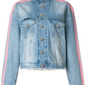DCCKIN3 Philipp Plein Tiger Embroidered Denim Jacket