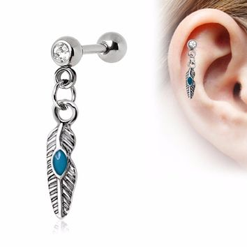 316L Stainless Steel Tribal Feather Cartilage Earring